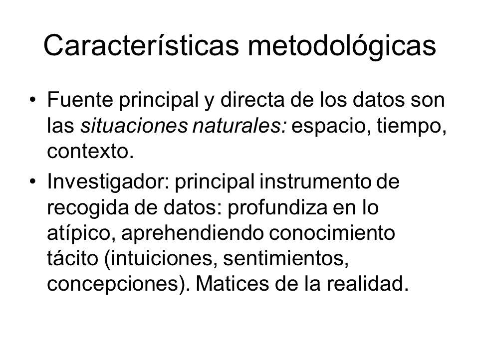 Características metodológicas Fuente principal y directa de los datos son las situaciones naturales: espacio, tiempo, contexto. Investigador: principa