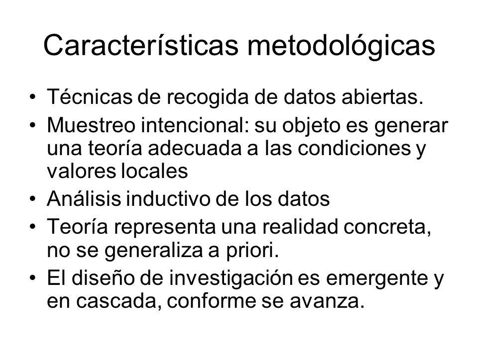 Características metodológicas Técnicas de recogida de datos abiertas. Muestreo intencional: su objeto es generar una teoría adecuada a las condiciones