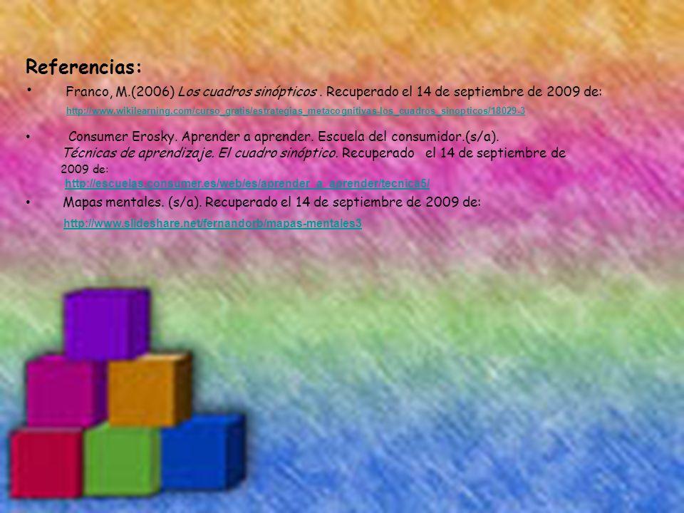 Referencias: Franco, M.(2006) Los cuadros sinópticos. Recuperado el 14 de septiembre de 2009 de: http://www.wikilearning.com/curso_gratis/estrategias_