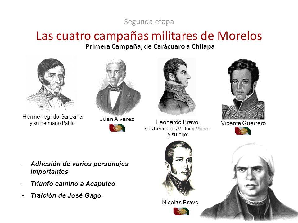 Primera Campaña, de Carácuaro a Chilapa Hermenegildo Galeana y su hermano Pablo Juan Álvarez Vicente Guerrero Leonardo Bravo, sus hermanos Víctor y Mi