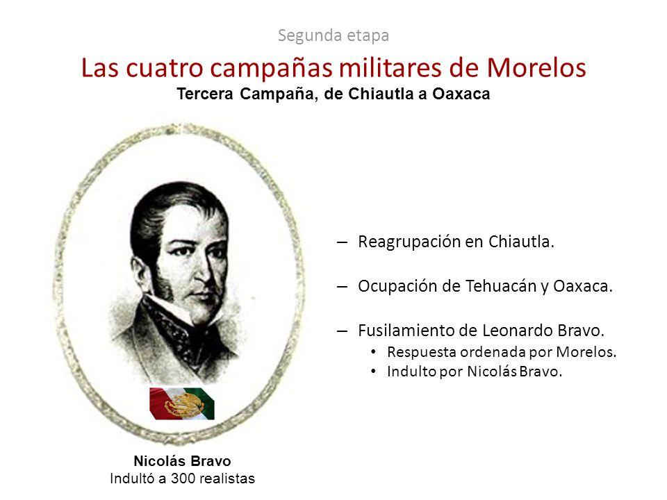 Segunda etapa Las cuatro campañas militares de Morelos – Reagrupación en Chiautla. – Ocupación de Tehuacán y Oaxaca. – Fusilamiento de Leonardo Bravo.