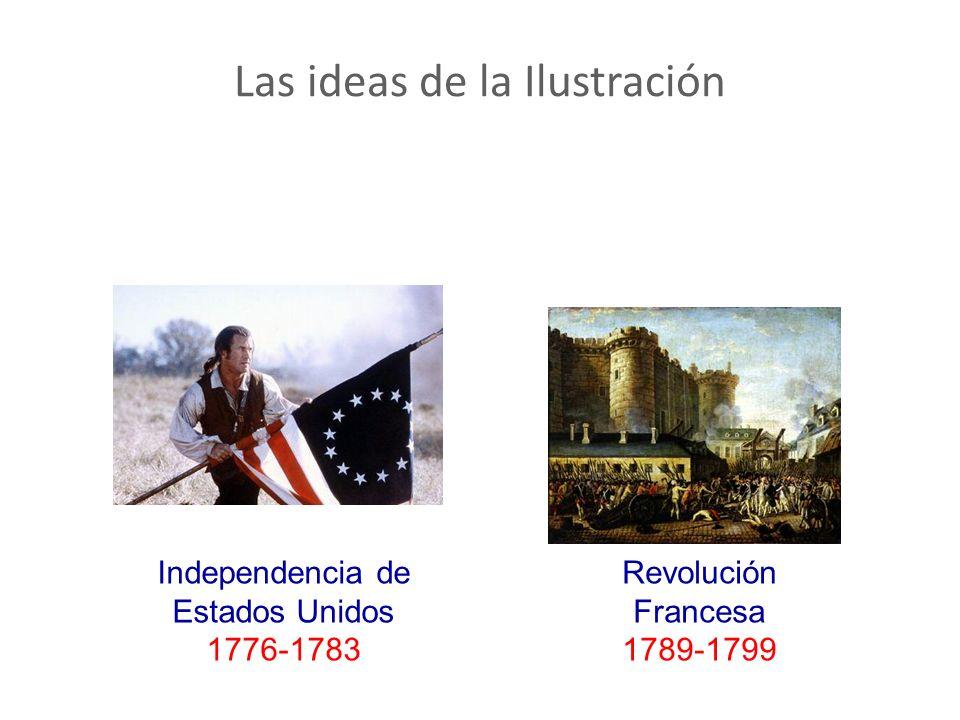 Las ideas de la Ilustración Independencia de Estados Unidos 1776-1783 Revolución Francesa 1789-1799