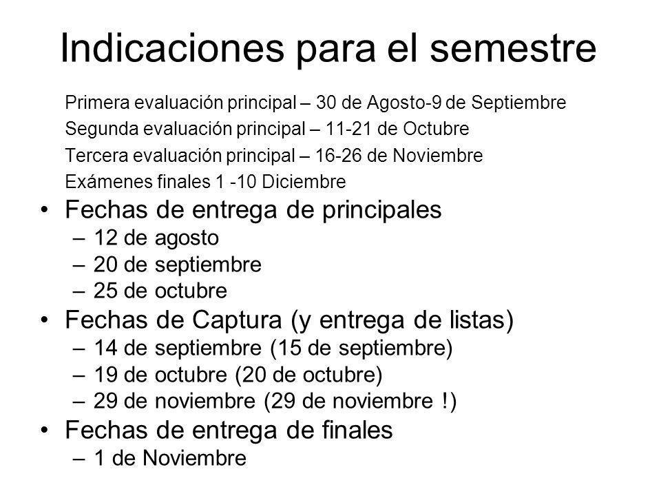 Indicaciones para el semestre Primera evaluación principal – 30 de Agosto-9 de Septiembre Segunda evaluación principal – 11-21 de Octubre Tercera eval