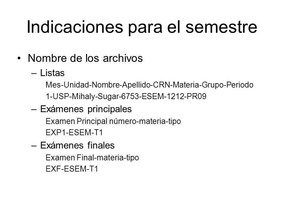 Indicaciones para el semestre Nombre de los archivos –Listas Mes-Unidad-Nombre-Apellido-CRN-Materia-Grupo-Periodo 1-USP-Mihaly-Sugar-6753-ESEM-1212-PR