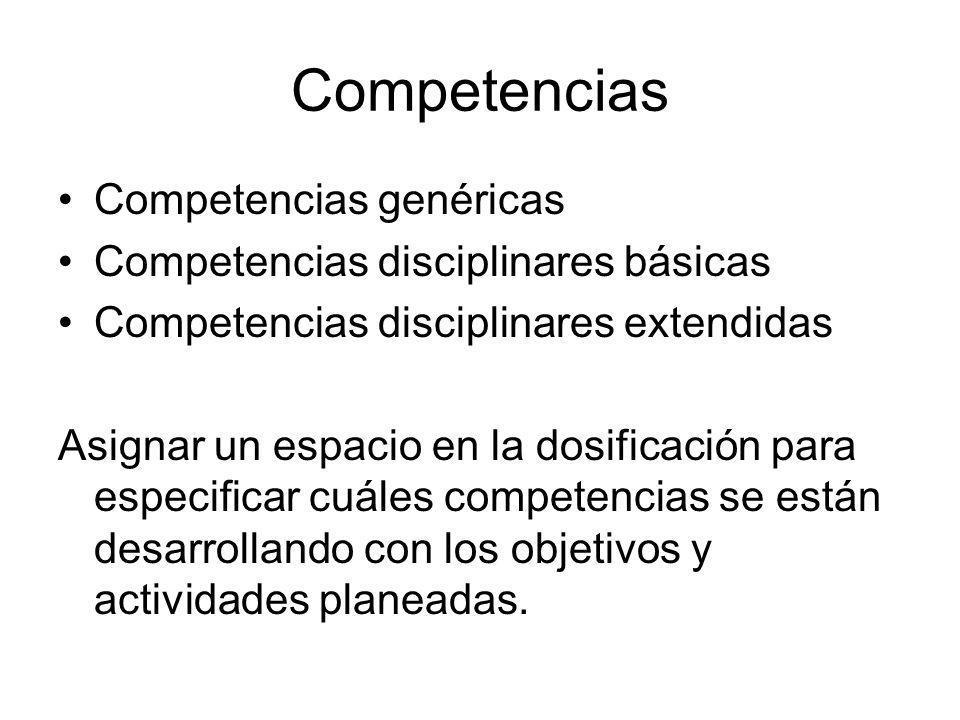 Competencias Competencias genéricas Competencias disciplinares básicas Competencias disciplinares extendidas Asignar un espacio en la dosificación par