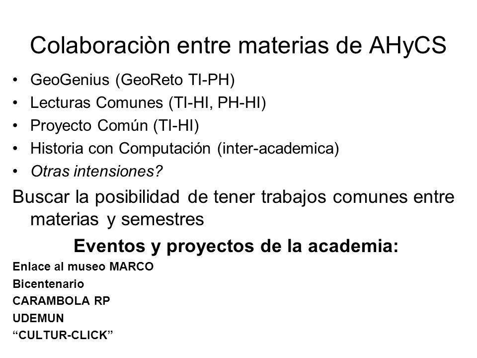 Colaboraciòn entre materias de AHyCS GeoGenius (GeoReto TI-PH) Lecturas Comunes (TI-HI, PH-HI) Proyecto Común (TI-HI) Historia con Computación (inter-