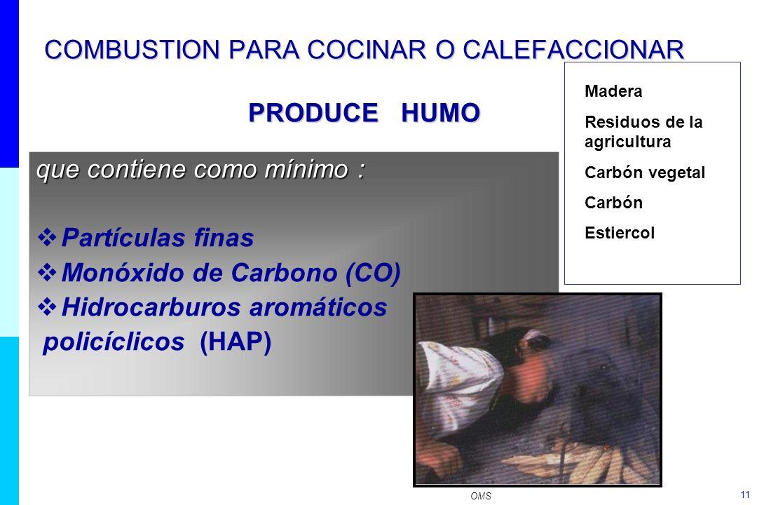 11 COMBUSTION PARA COCINAR O CALEFACCIONAR PRODUCE HUMO que contiene como mínimo : Partículas finas Monóxido de Carbono (CO) Hidrocarburos aromáticos