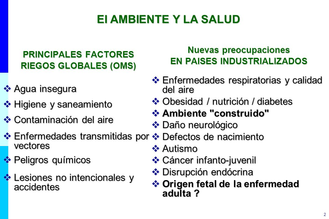 33 Recognize environmental risk factors for children s health Understand how environment affects children s health outcomes Take exposure histories Contribute to knowledge on children s environmental health WHO Rol de los profesionales de la salud ( OMS)