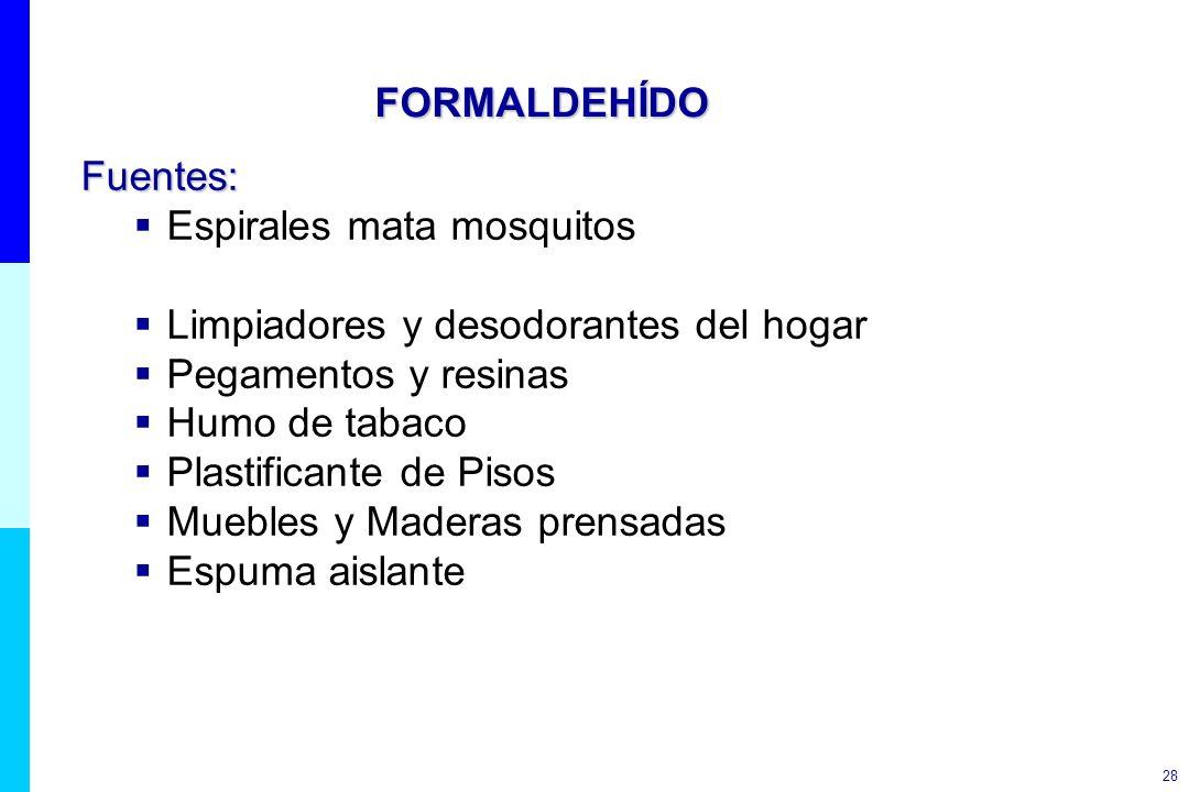 28 FORMALDEHÍDO Fuentes: Espirales mata mosquitos Limpiadores y desodorantes del hogar Pegamentos y resinas Humo de tabaco Plastificante de Pisos Mueb