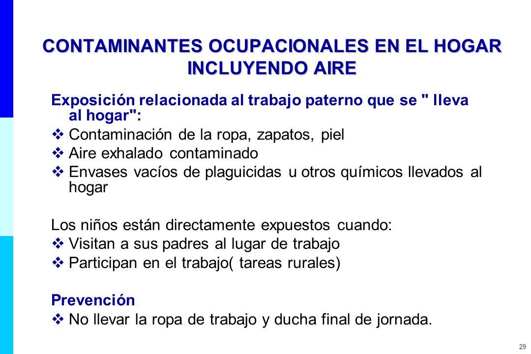 29 CONTAMINANTES OCUPACIONALES EN EL HOGAR INCLUYENDO AIRE Exposición relacionada al trabajo paterno que se