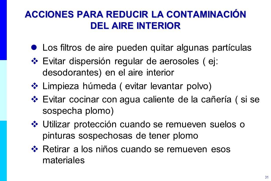 31 ACCIONES PARA REDUCIR LA CONTAMINACIÓN DEL AIRE INTERIOR lLos filtros de aire pueden quitar algunas partículas Evitar dispersión regular de aerosol