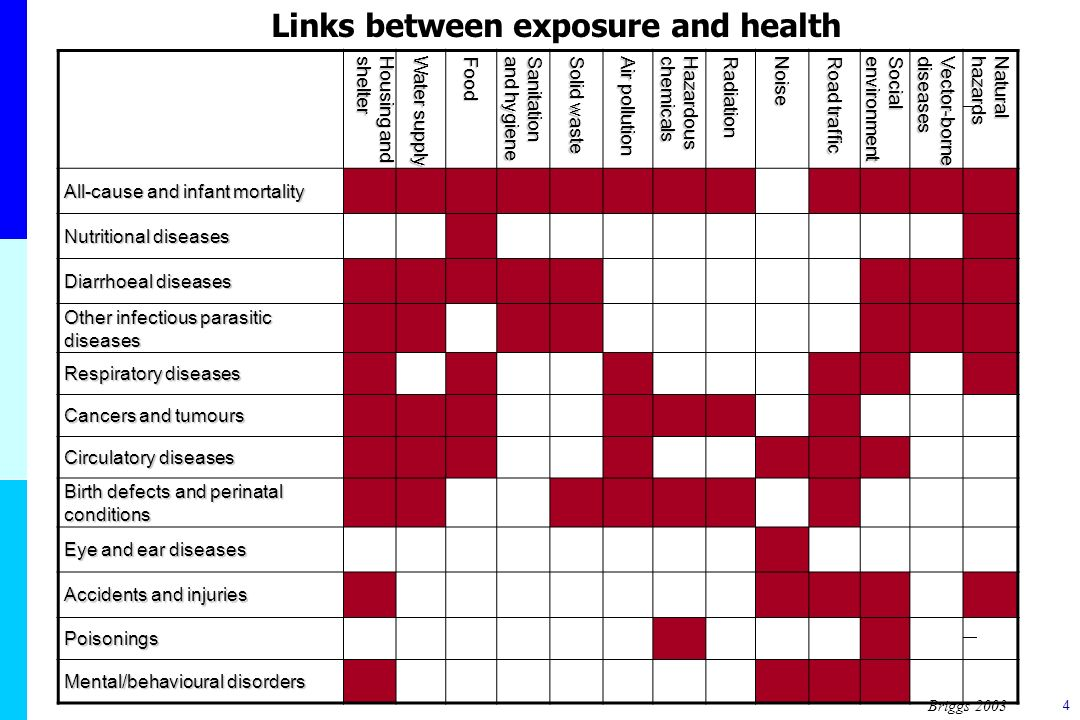 4 Links between exposure and health Housing and shelter Water supply Food Sanitationand hygiene Solid waste Air pollution Hazardouschemicals Radiation