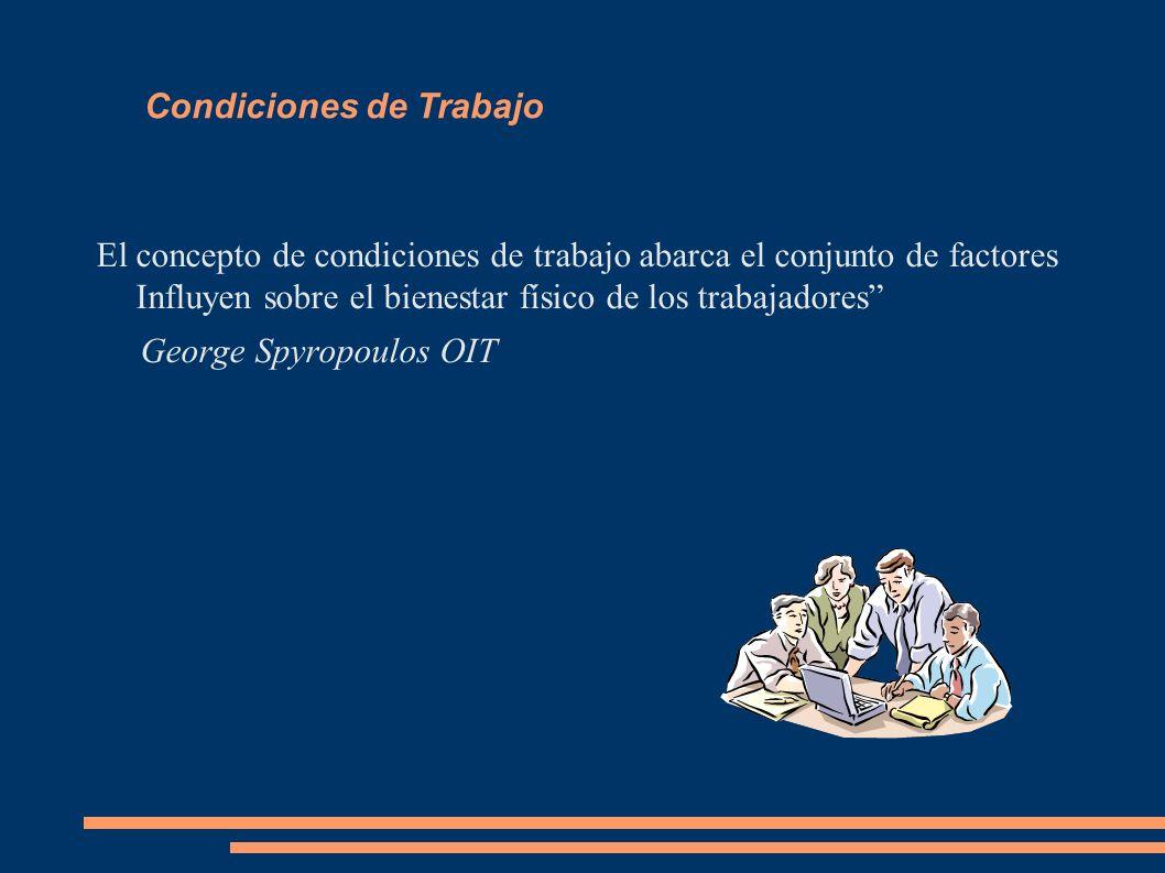 Condiciones de Trabajo El concepto de condiciones de trabajo abarca el conjunto de factores Influyen sobre el bienestar físico de los trabajadores Geo