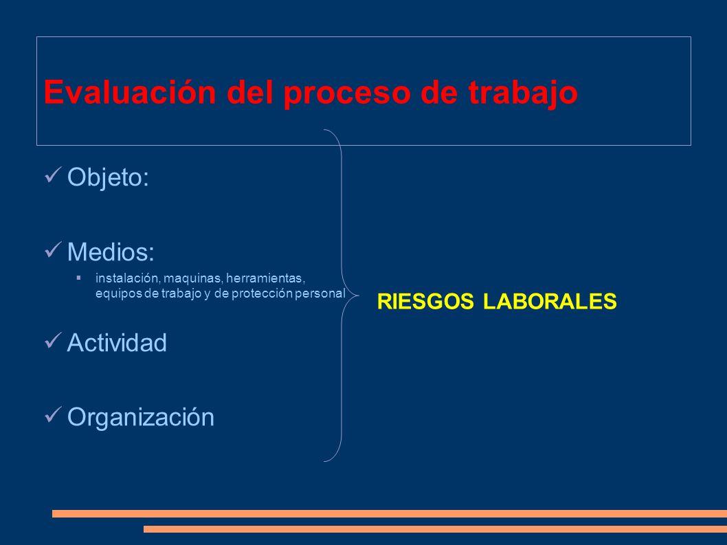 Evaluación del proceso de trabajo Objeto: Medios: instalación, maquinas, herramientas, equipos de trabajo y de protección personal Actividad Organizac
