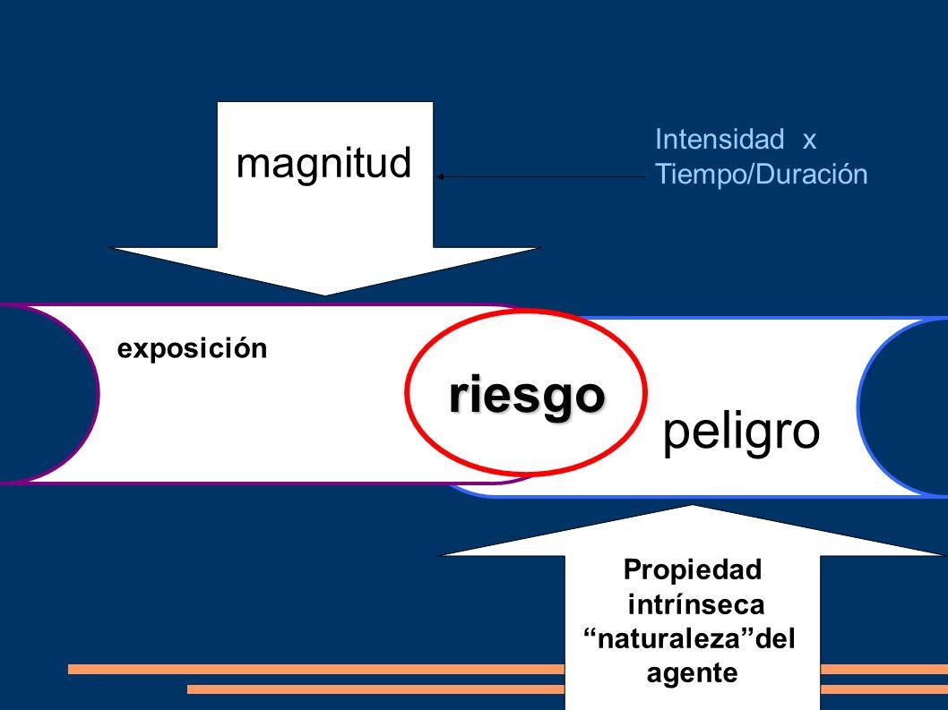 riesgo exposición peligro Propiedad intrínseca naturalezadel agente magnitud Intensidad x Tiempo/Duración