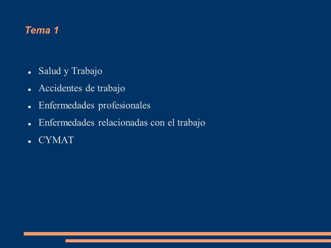 Tema 1 Salud y Trabajo Accidentes de trabajo Enfermedades profesionales Enfermedades relacionadas con el trabajo CYMAT