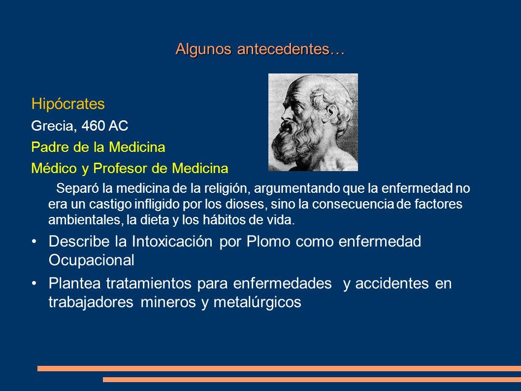 Algunos antecedentes… Hipócrates Grecia, 460 AC Padre de la Medicina Médico y Profesor de Medicina Separó la medicina de la religión, argumentando que