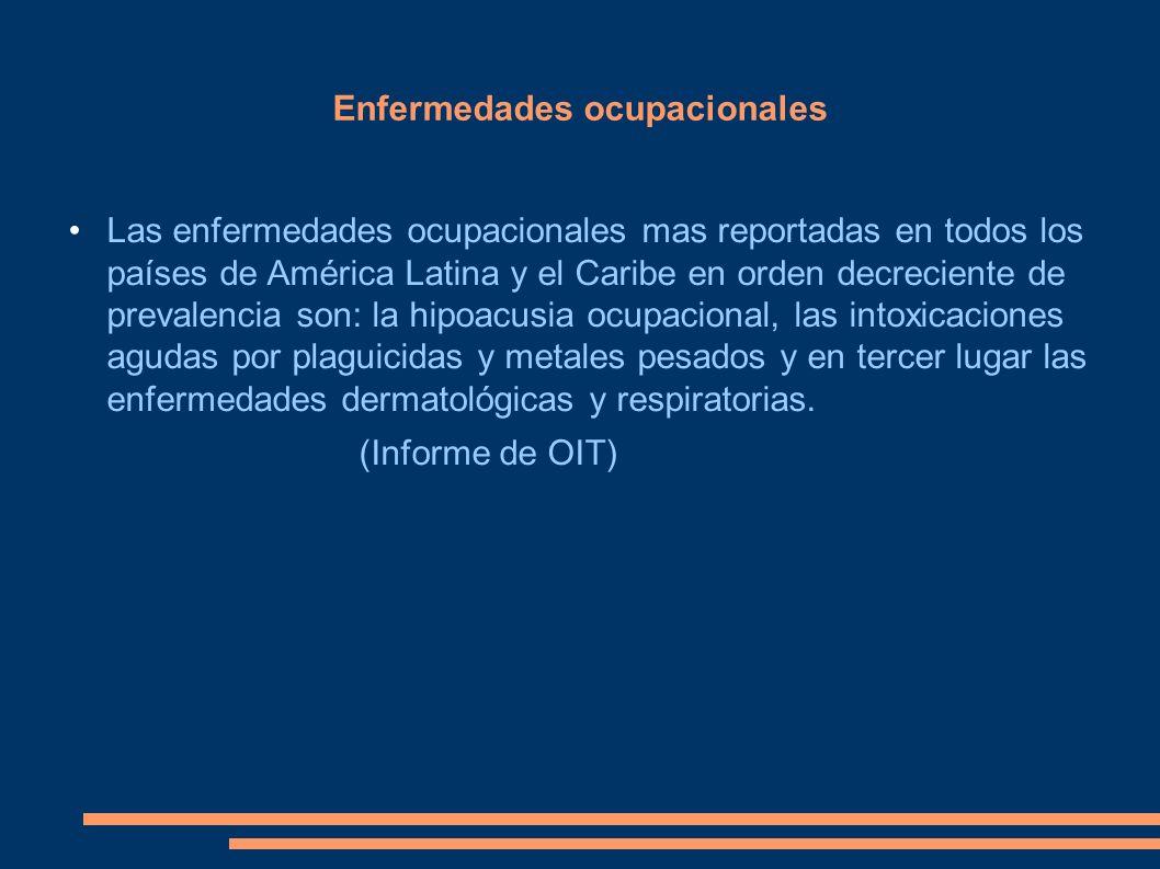 Enfermedades ocupacionales Las enfermedades ocupacionales mas reportadas en todos los países de América Latina y el Caribe en orden decreciente de pre