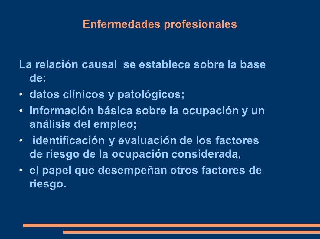 Enfermedades profesionales La relación causal se establece sobre la base de: datos clínicos y patológicos; información básica sobre la ocupación y un