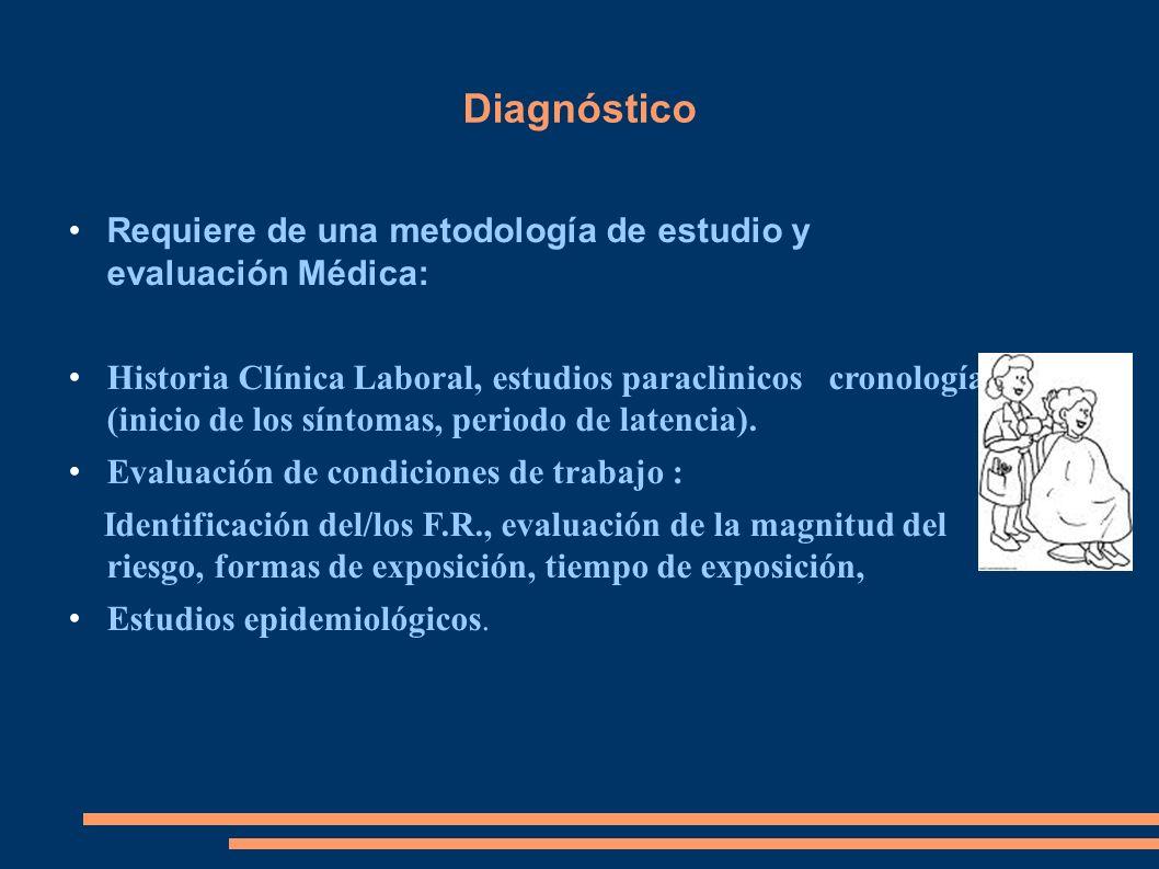 Diagnóstico Requiere de una metodología de estudio y evaluación Médica: Historia Clínica Laboral, estudios paraclinicos cronología (inicio de los sínt