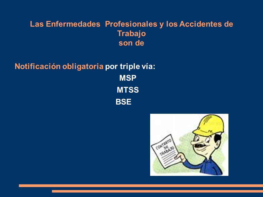 Las Enfermedades Profesionales y los Accidentes de Trabajo son de Notificación obligatoria por triple vía: MSP MTSS BSE