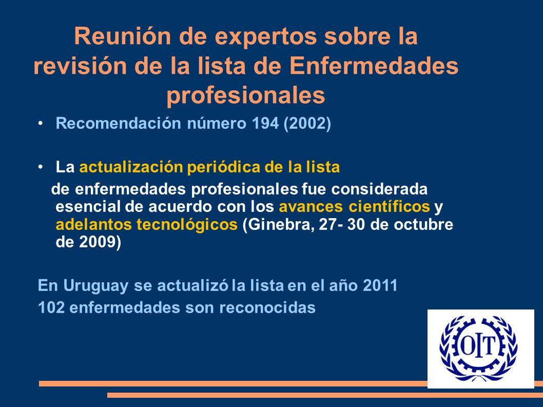 Reunión de expertos sobre la revisión de la lista de Enfermedades profesionales Recomendación número 194 (2002) La actualización periódica de la lista