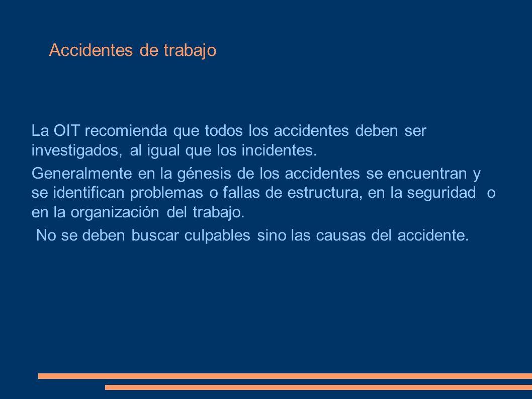Accidentes de trabajo La OIT recomienda que todos los accidentes deben ser investigados, al igual que los incidentes. Generalmente en la génesis de lo
