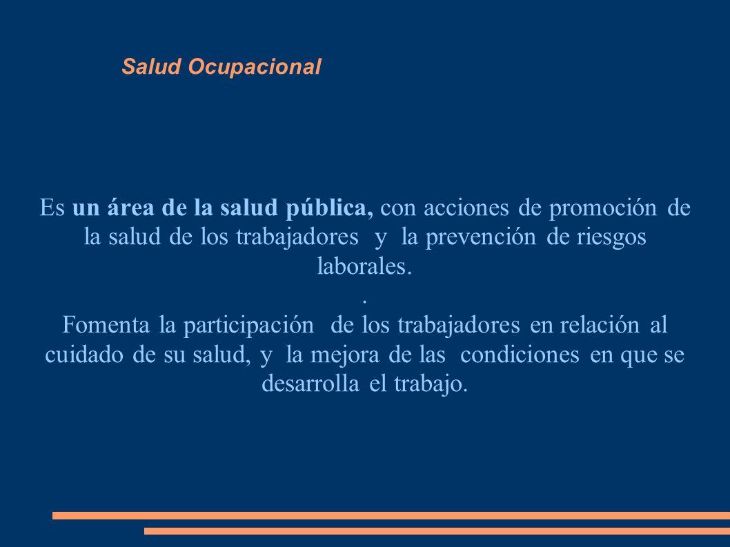 Salud Ocupacional Es un área de la salud pública, con acciones de promoción de la salud de los trabajadores y la prevención de riesgos laborales.. Fom
