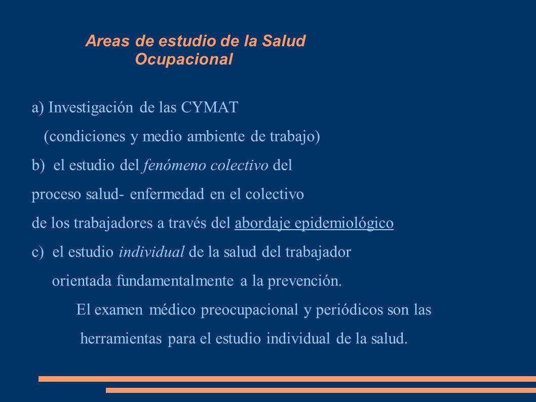 Areas de estudio de la Salud Ocupacional a) Investigación de las CYMAT (condiciones y medio ambiente de trabajo) b) el estudio del fenómeno colectivo