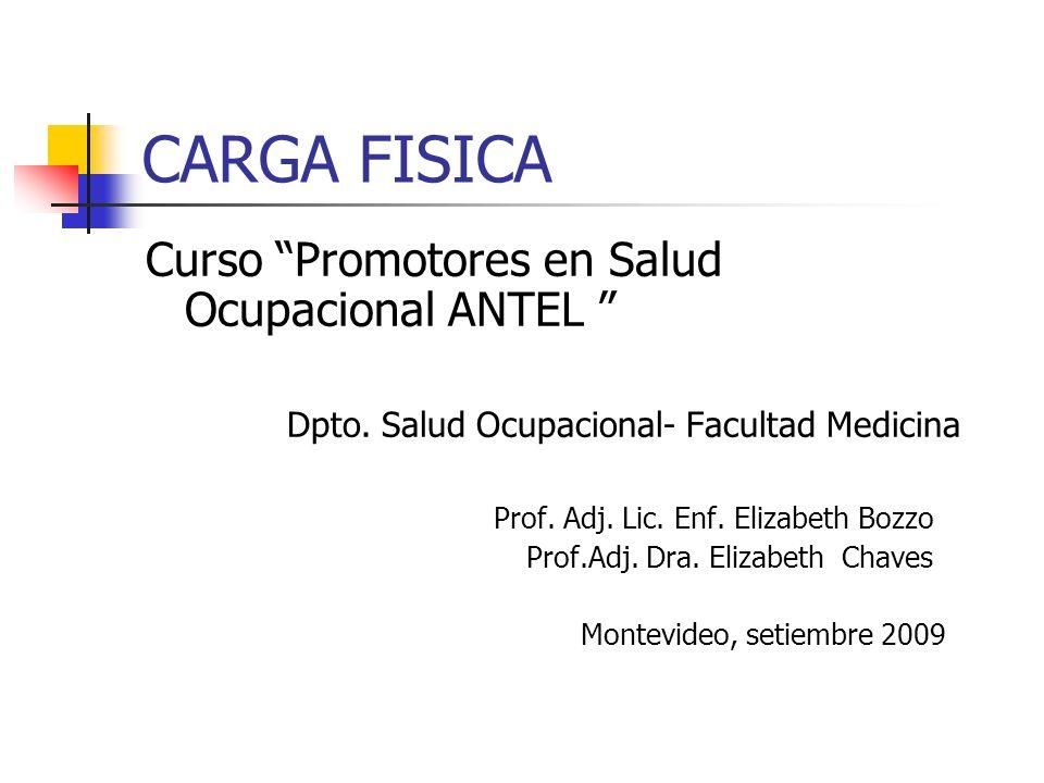 CARGA FISICA Curso Promotores en Salud Ocupacional ANTEL Dpto. Salud Ocupacional- Facultad Medicina Prof. Adj. Lic. Enf. Elizabeth Bozzo Prof.Adj. Dra