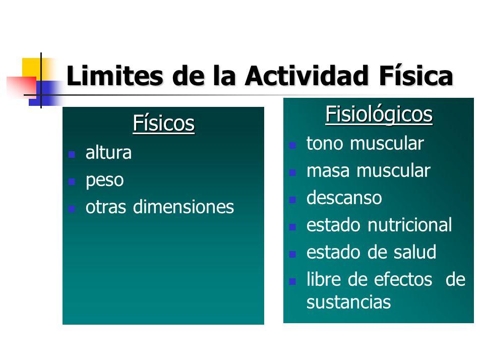 Limites de la Actividad Física Físicos altura peso otras dimensiones Fisiológicos tono muscular masa muscular descanso estado nutricional estado de sa