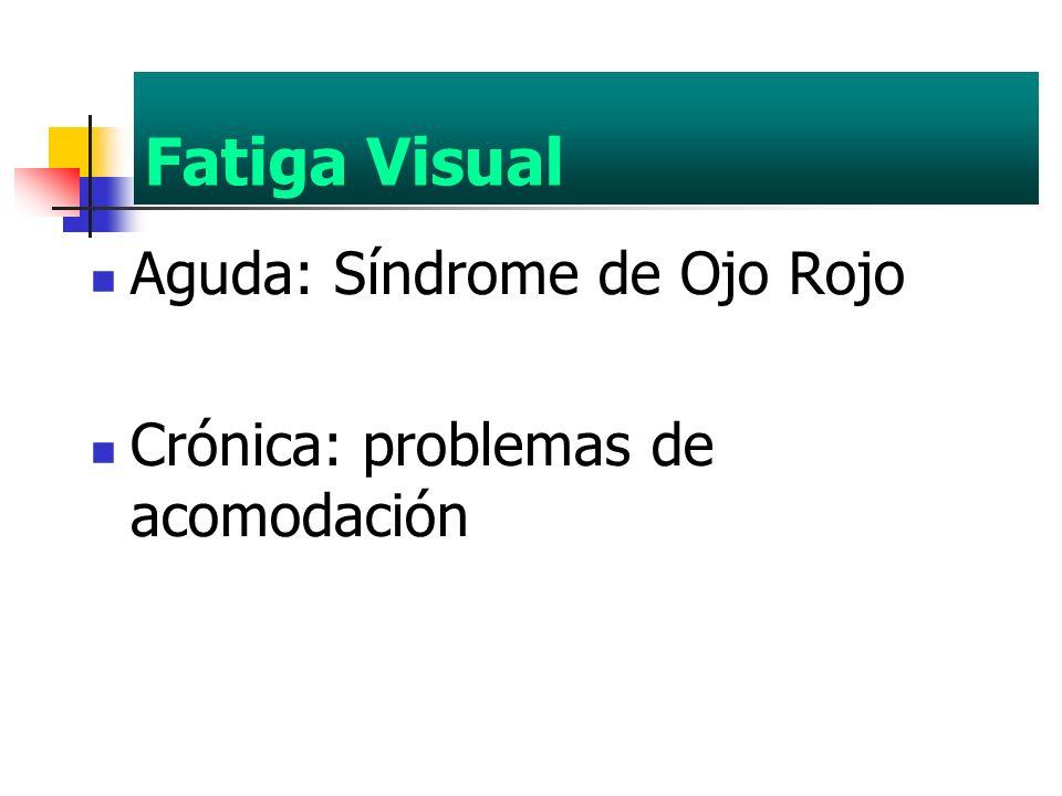 Fatiga Visual Aguda: Síndrome de Ojo Rojo Crónica: problemas de acomodación