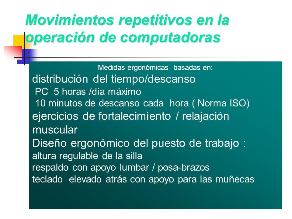 Movimientos repetitivos en la operación de computadoras Medidas ergonómicas basadas en: distribución del tiempo/descanso PC 5 horas /día máximo 10 min