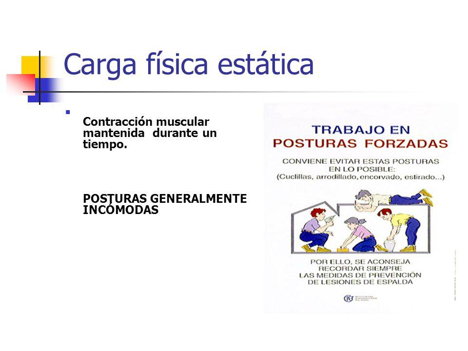 Carga física estática Contracción muscular mantenida durante un tiempo. POSTURAS GENERALMENTE INCÓMODAS