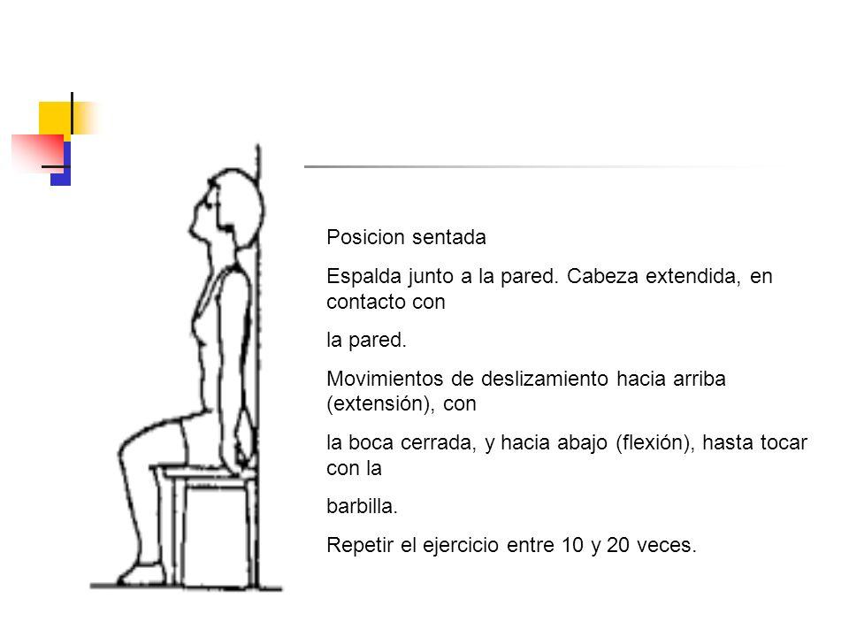 Posicion sentada Espalda junto a la pared. Cabeza extendida, en contacto con la pared. Movimientos de deslizamiento hacia arriba (extensión), con la b