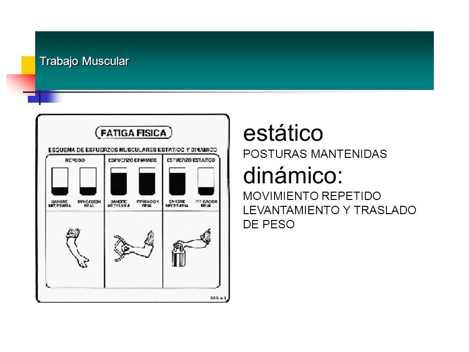 Trabajo Muscular estático POSTURAS MANTENIDAS dinámico: MOVIMIENTO REPETIDO LEVANTAMIENTO Y TRASLADO DE PESO