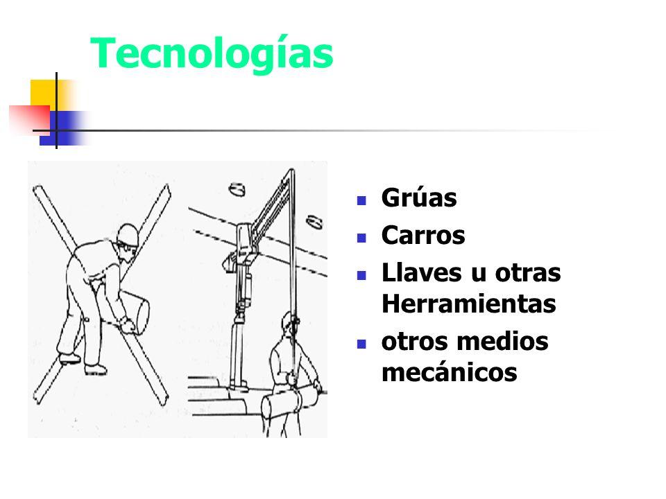 Tecnologías apropiadas para levantar peso Grúas Carros Llaves u otras Herramientas otros medios mecánicos