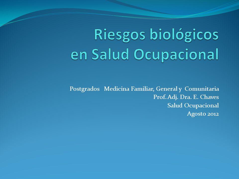 Postgrados Medicina Familiar, General y Comunitaria Prof. Adj. Dra. E. Chaves Salud Ocupacional Agosto 2012