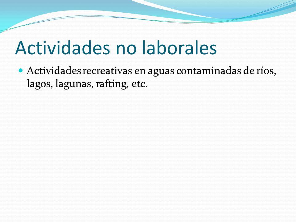 Actividades no laborales Actividades recreativas en aguas contaminadas de ríos, lagos, lagunas, rafting, etc.