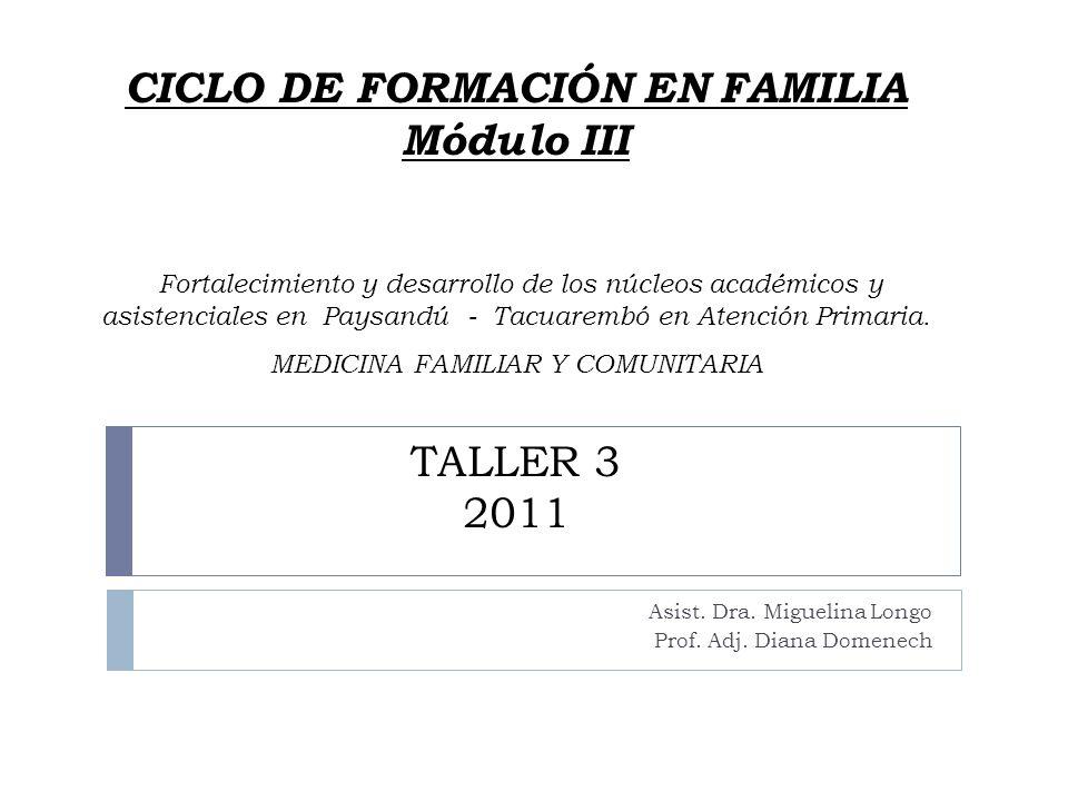 CICLO DE FORMACIÓN EN FAMILIA Módulo III Fortalecimiento y desarrollo de los núcleos académicos y asistenciales en Paysandú - Tacuarembó en Atención P