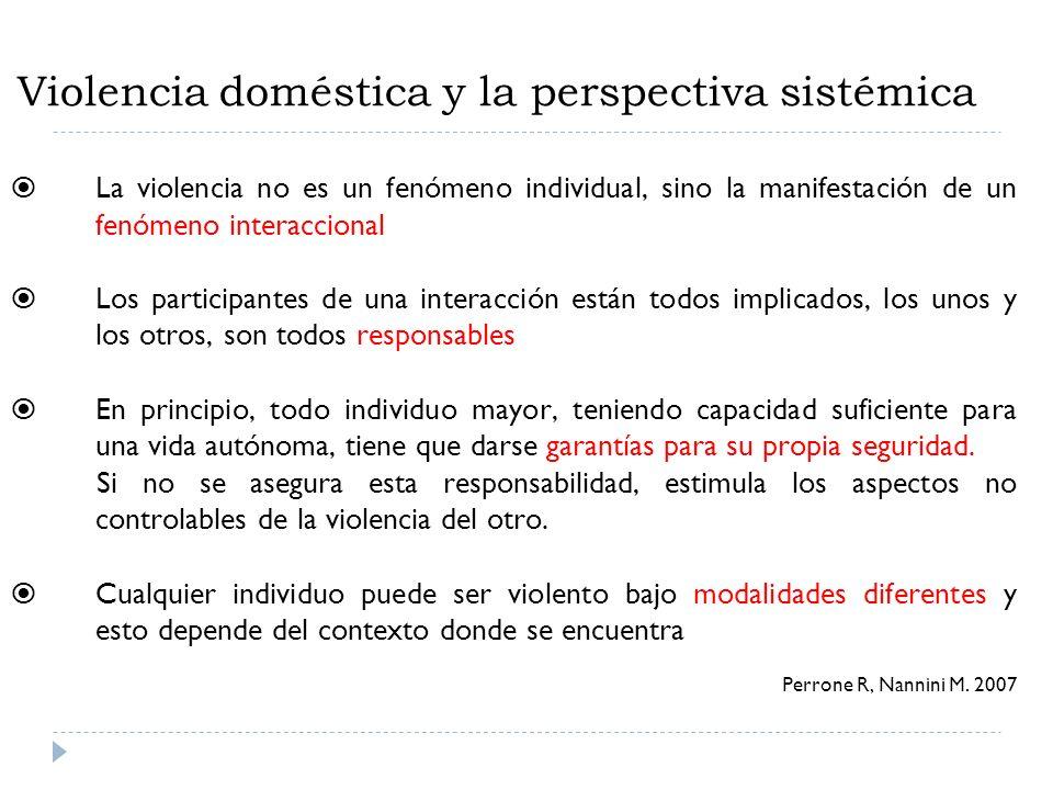 Violencia doméstica y la perspectiva sistémica La violencia no es un fenómeno individual, sino la manifestación de un fenómeno interaccional Los parti