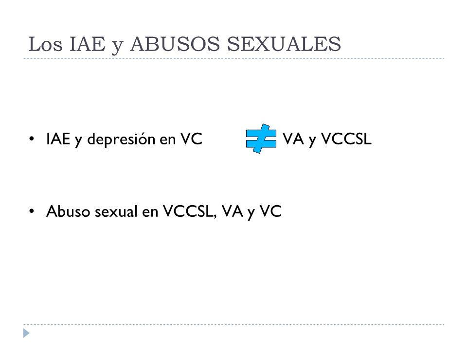 Los IAE y ABUSOS SEXUALES IAE y depresión en VC VA y VCCSL Abuso sexual en VCCSL, VA y VC