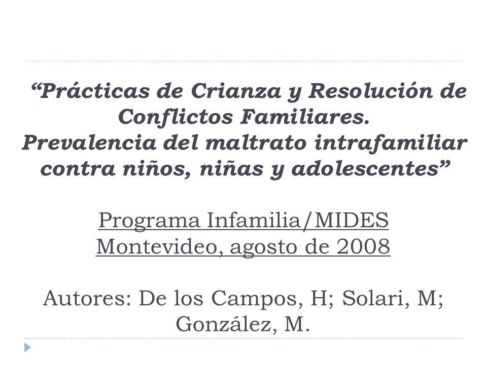 Prácticas de Crianza y Resolución de Conflictos Familiares. Prevalencia del maltrato intrafamiliar contra niños, niñas y adolescentes Programa Infamil