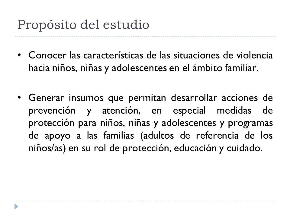 Propósito del estudio Conocer las características de las situaciones de violencia hacia niños, niñas y adolescentes en el ámbito familiar. Generar ins