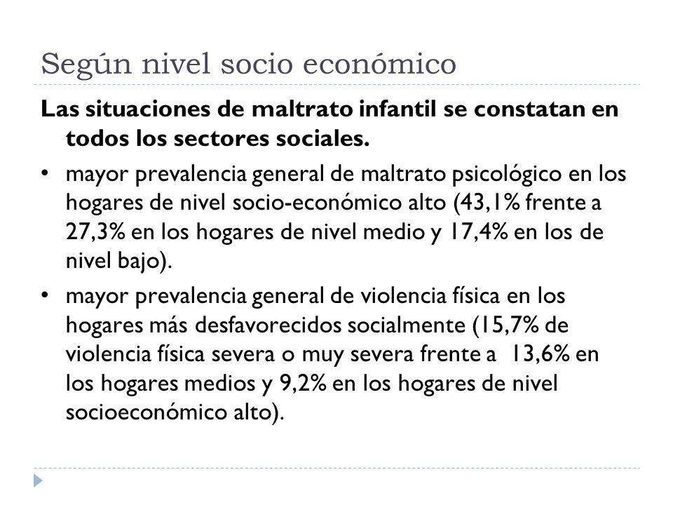 Según nivel socio económico Las situaciones de maltrato infantil se constatan en todos los sectores sociales. mayor prevalencia general de maltrato ps