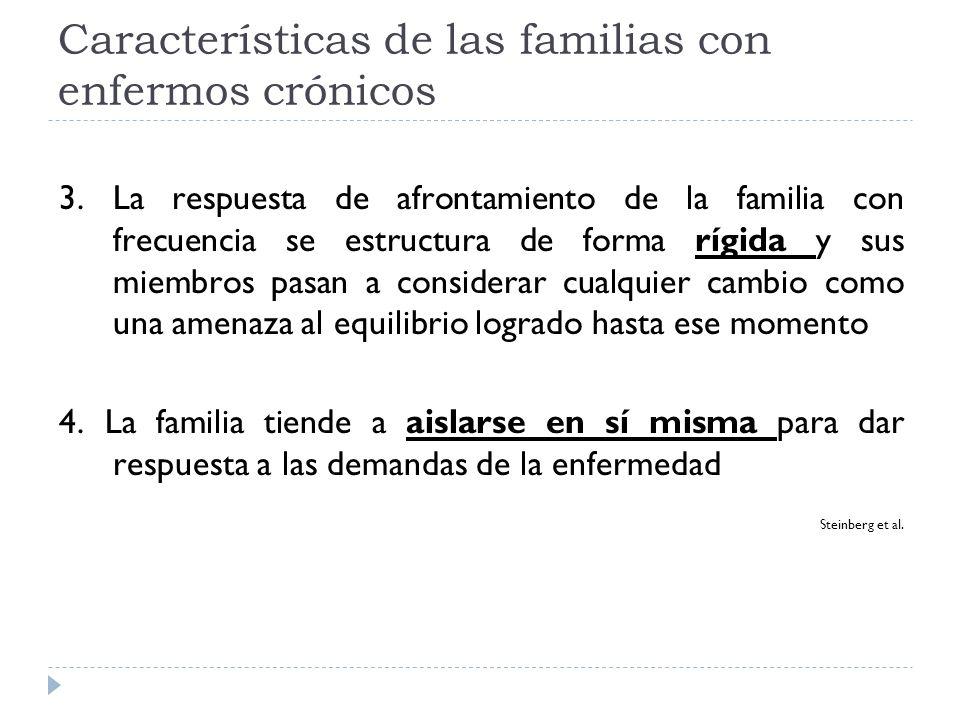 Características de las familias con enfermos crónicos 3. La respuesta de afrontamiento de la familia con frecuencia se estructura de forma rígida y su