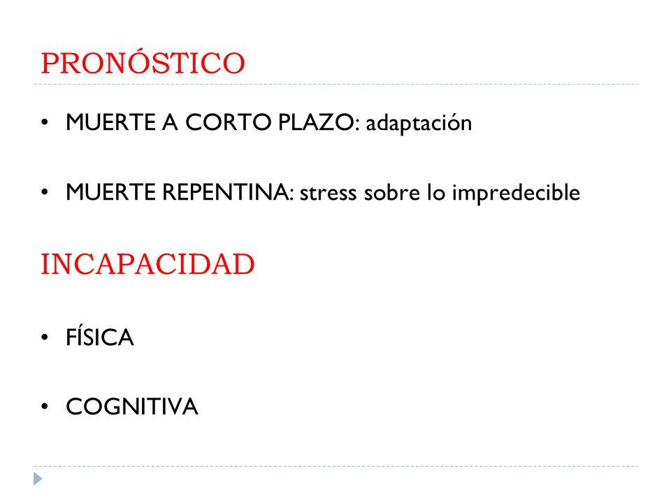 PRONÓSTICO MUERTE A CORTO PLAZO: adaptación MUERTE REPENTINA: stress sobre lo impredecible INCAPACIDAD FÍSICA COGNITIVA