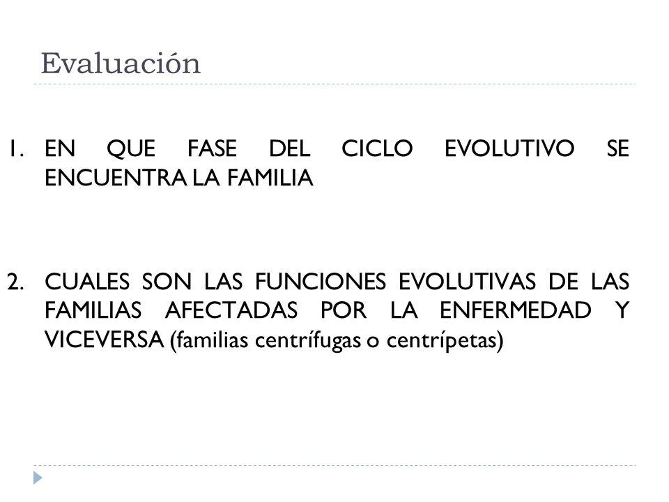 Evaluación 1.EN QUE FASE DEL CICLO EVOLUTIVO SE ENCUENTRA LA FAMILIA 2.CUALES SON LAS FUNCIONES EVOLUTIVAS DE LAS FAMILIAS AFECTADAS POR LA ENFERMEDAD