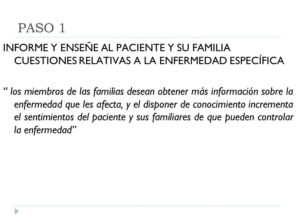 PASO 1 INFORME Y ENSEÑE AL PACIENTE Y SU FAMILIA CUESTIONES RELATIVAS A LA ENFERMEDAD ESPECÍFICA los miembros de las familias desean obtener más infor