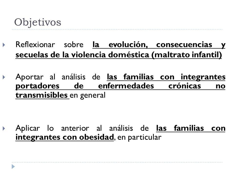 Objetivos Reflexionar sobre la evolución, consecuencias y secuelas de la violencia doméstica (maltrato infantil) Aportar al análisis de las familias c